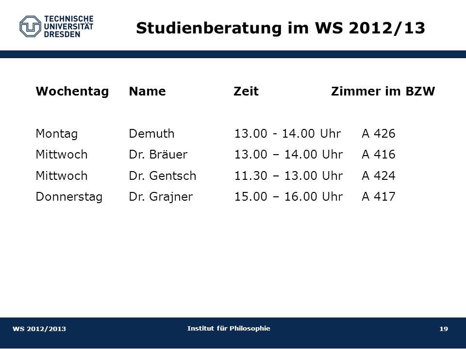 Studienberatung im WS 2012/13