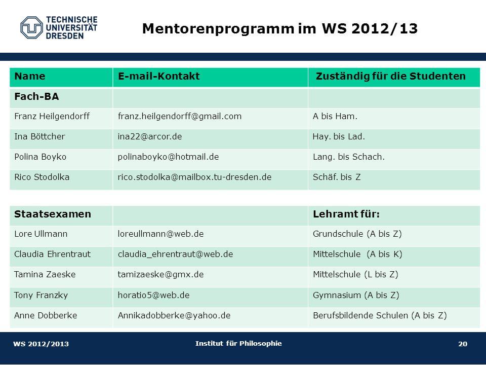 Mentorenprogramm im WS 2012/13