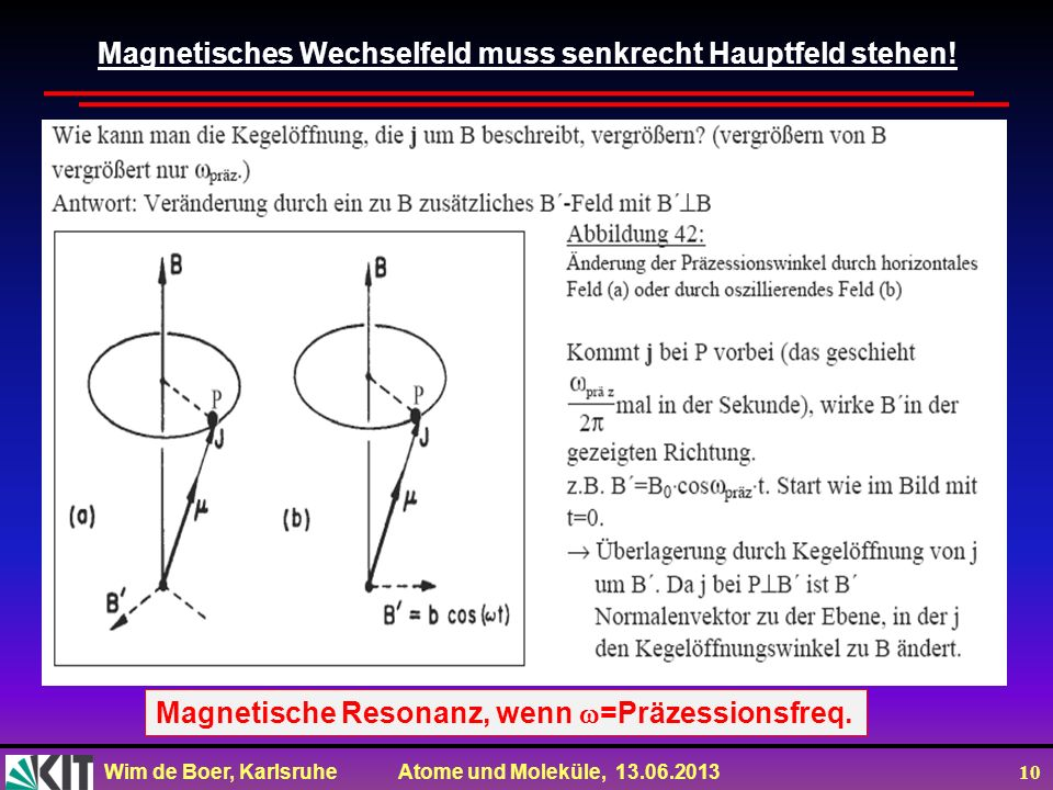 Magnetisches Wechselfeld muss senkrecht Hauptfeld stehen!