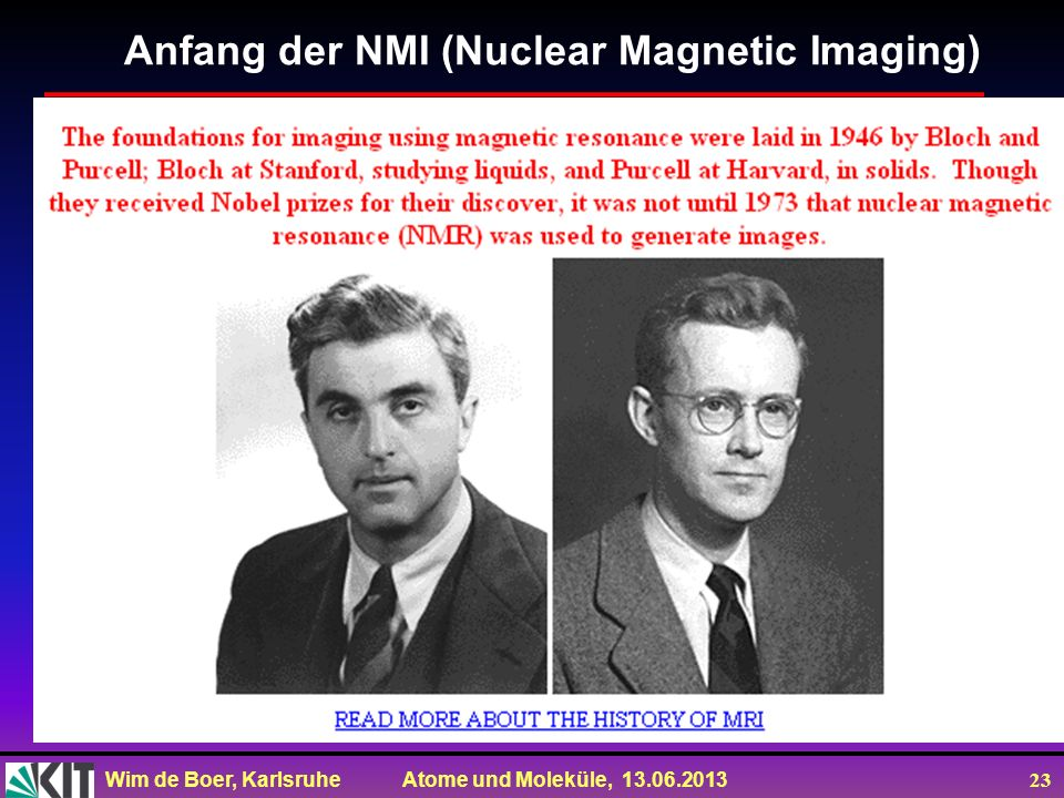 Anfang der NMI (Nuclear Magnetic Imaging)