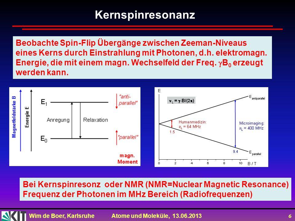 Kernspinresonanz Beobachte Spin-Flip Übergänge zwischen Zeeman-Niveaus
