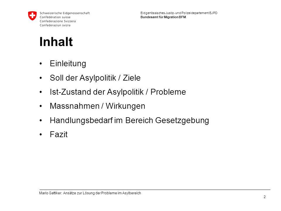 Inhalt Einleitung Soll der Asylpolitik / Ziele