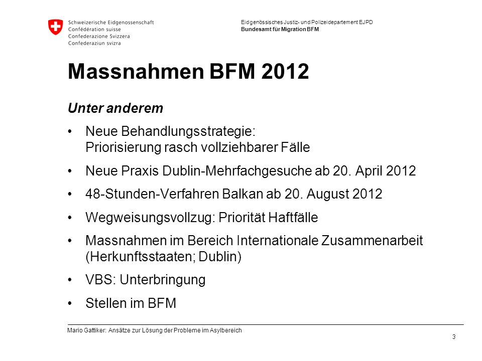 Massnahmen BFM 2012 Unter anderem