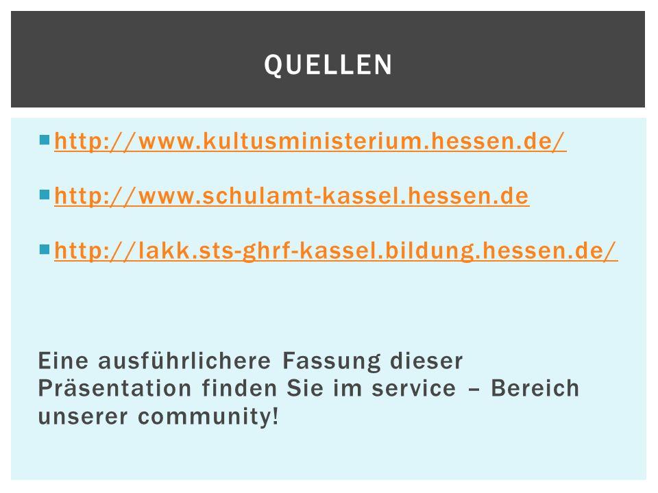 Quellen http://www.kultusministerium.hessen.de/