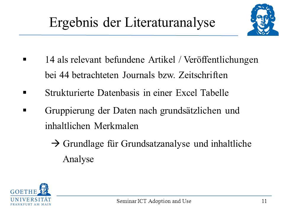 Ergebnis der Literaturanalyse