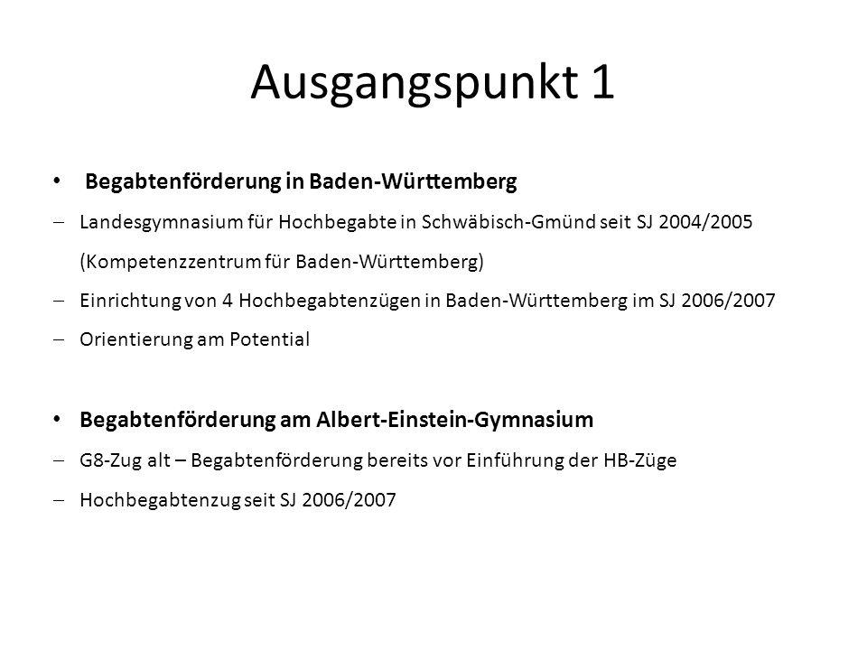 Ausgangspunkt 1 Begabtenförderung in Baden-Württemberg