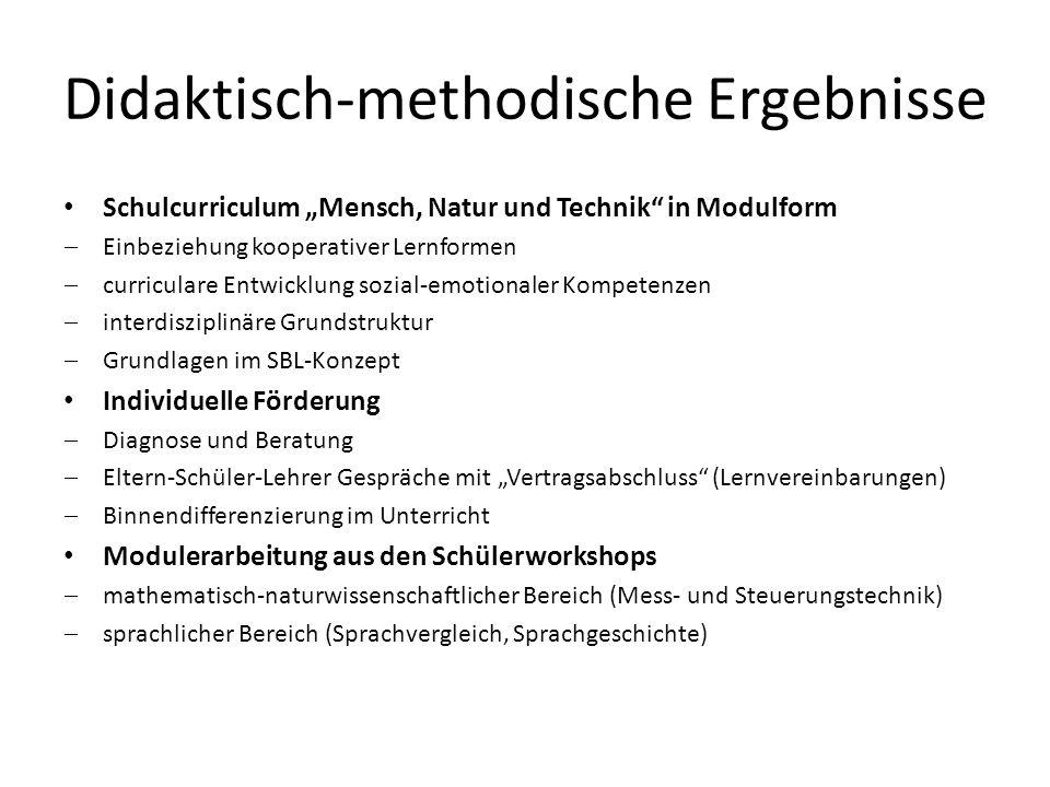 Didaktisch-methodische Ergebnisse