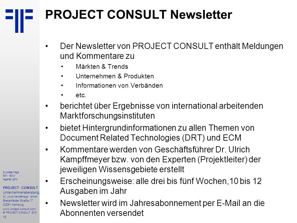 PROJECT CONSULT Newsletter