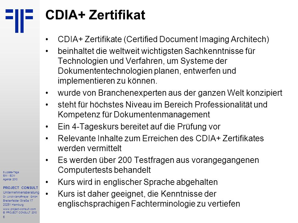 CDIA+ Zertifikat CDIA+ Zertifikate (Certified Document Imaging Architech)