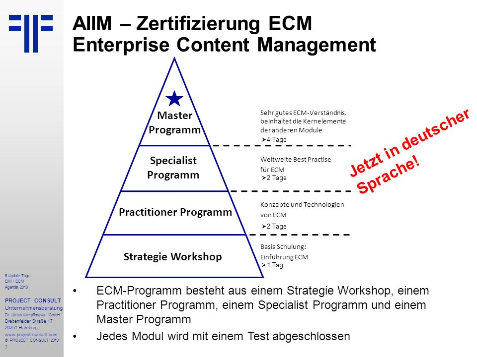 AIIM – Zertifizierung ECM Enterprise Content Management