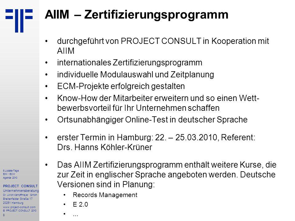 AIIM – Zertifizierungsprogramm
