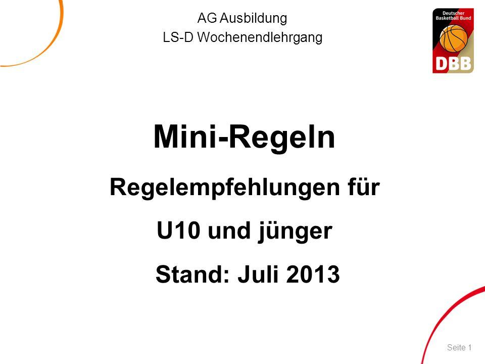 Regelempfehlungen für U10 und jünger Stand: Juli 2013