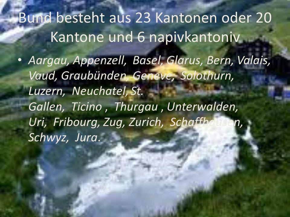 Bund besteht aus 23 Kantonen oder 20 Kantone und 6 napivkantoniv