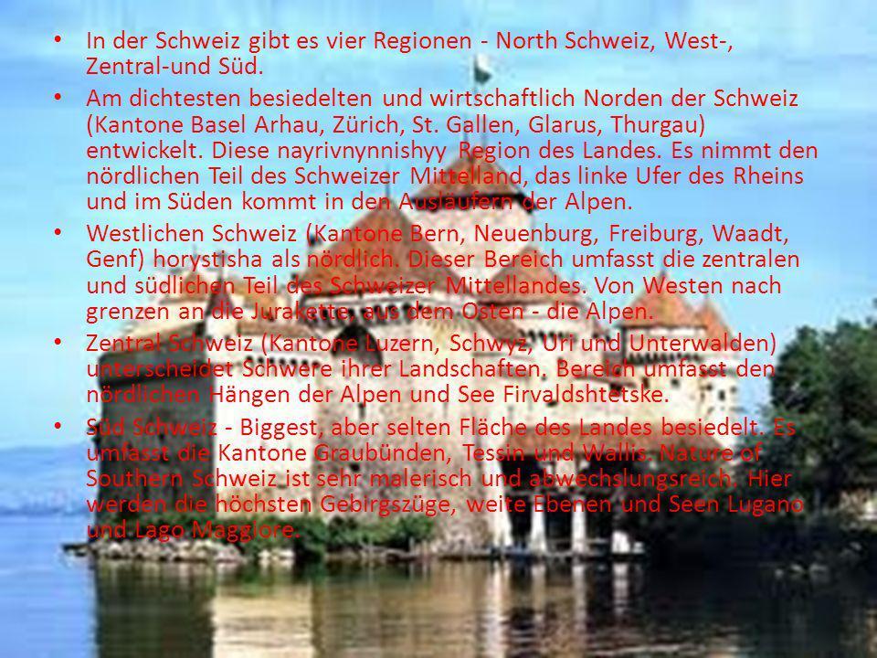 In der Schweiz gibt es vier Regionen - North Schweiz, West-, Zentral-und Süd.