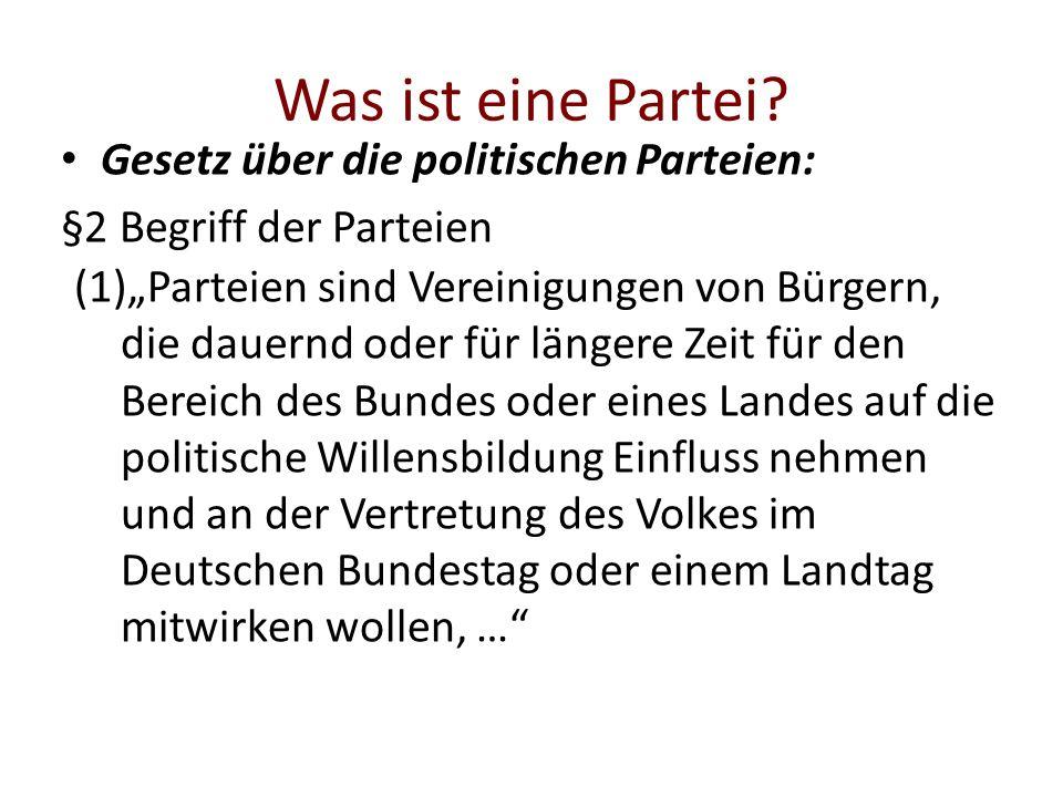 Was ist eine Partei Gesetz über die politischen Parteien: