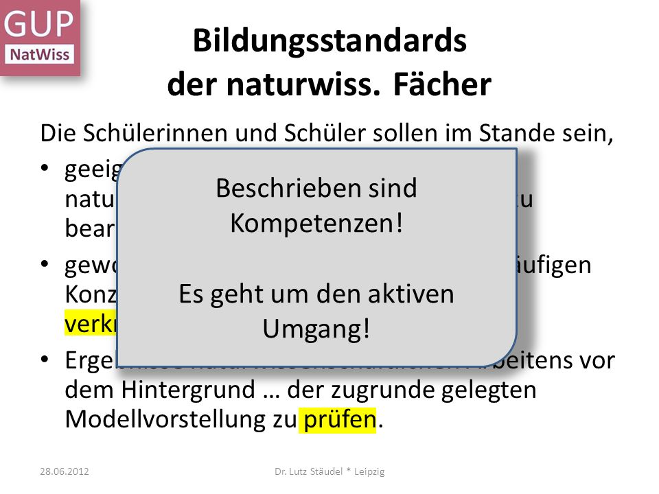 Bildungsstandards der naturwiss. Fächer
