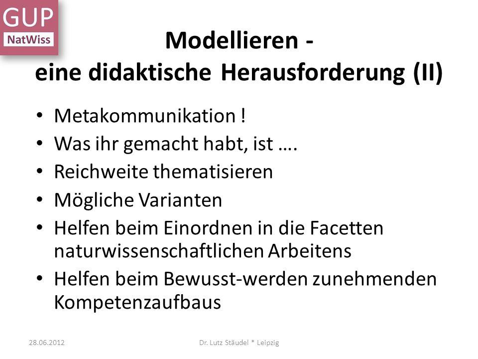 Modellieren - eine didaktische Herausforderung (II)