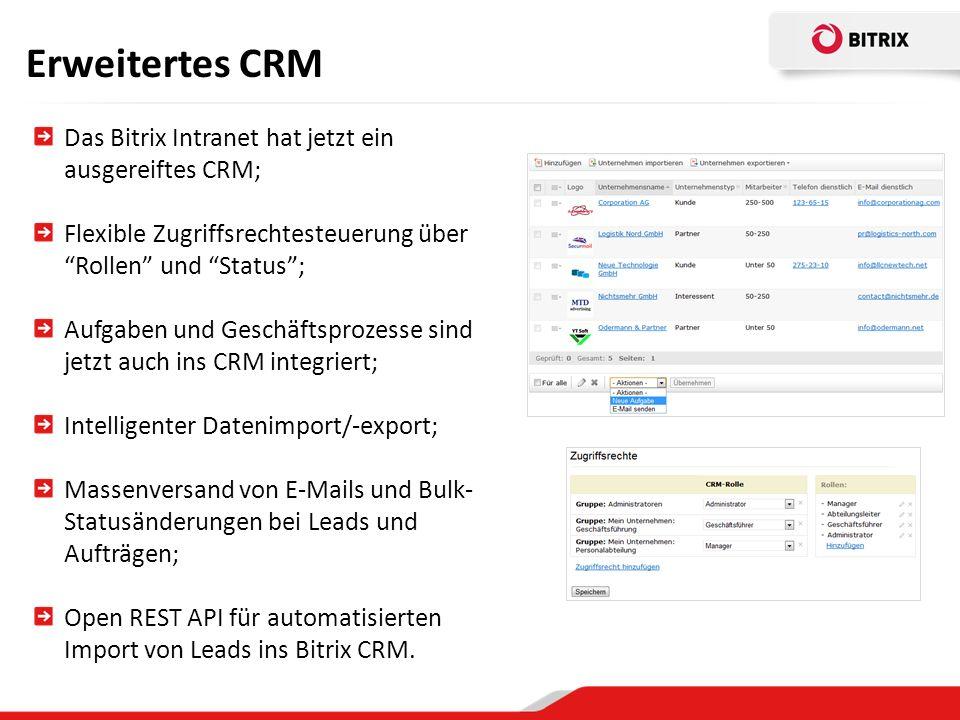 Erweitertes CRM Das Bitrix Intranet hat jetzt ein ausgereiftes CRM;
