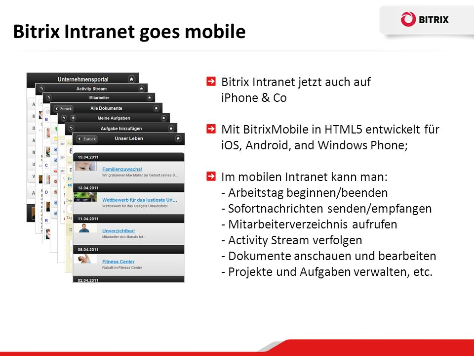 Bitrix Intranet goes mobile