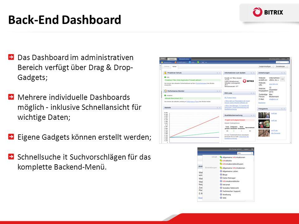 Back-End Dashboard Das Dashboard im administrativen Bereich verfügt über Drag & Drop-Gadgets;