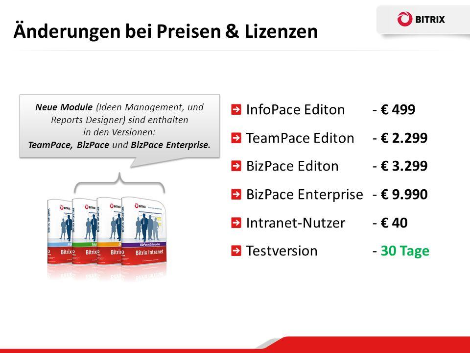 Änderungen bei Preisen & Lizenzen