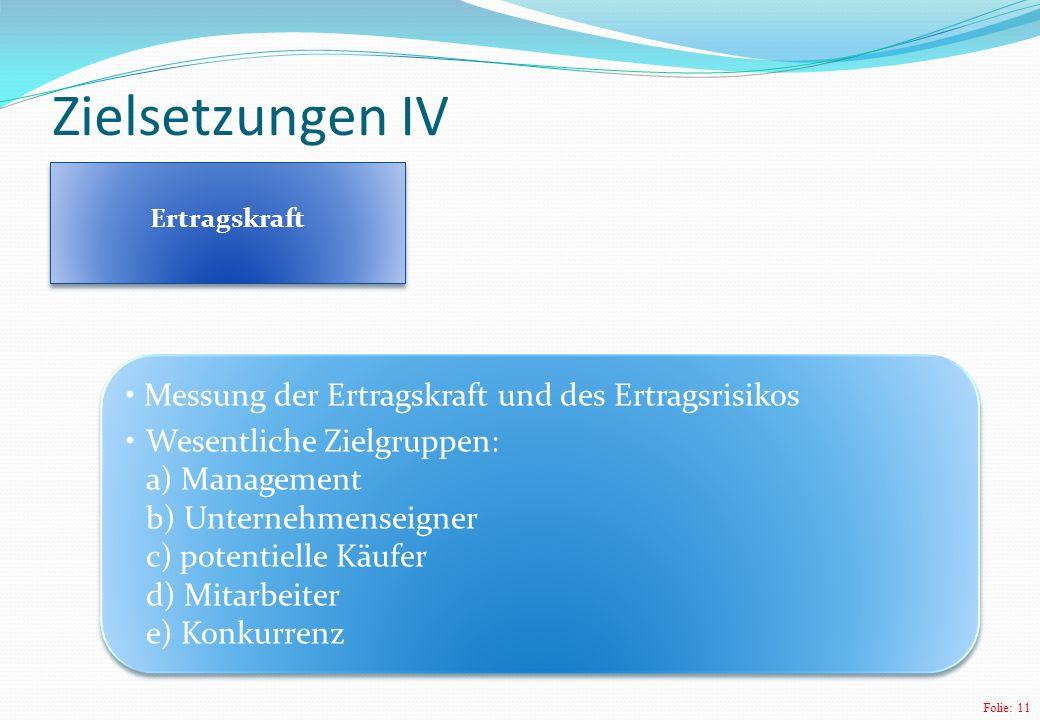Zielsetzungen IV Messung der Ertragskraft und des Ertragsrisikos