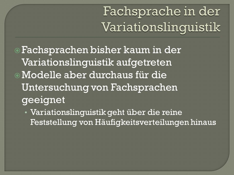 Fachsprache in der Variationslinguistik