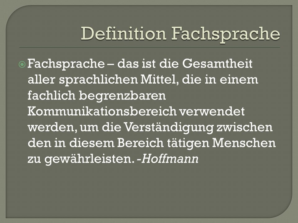 Definition Fachsprache