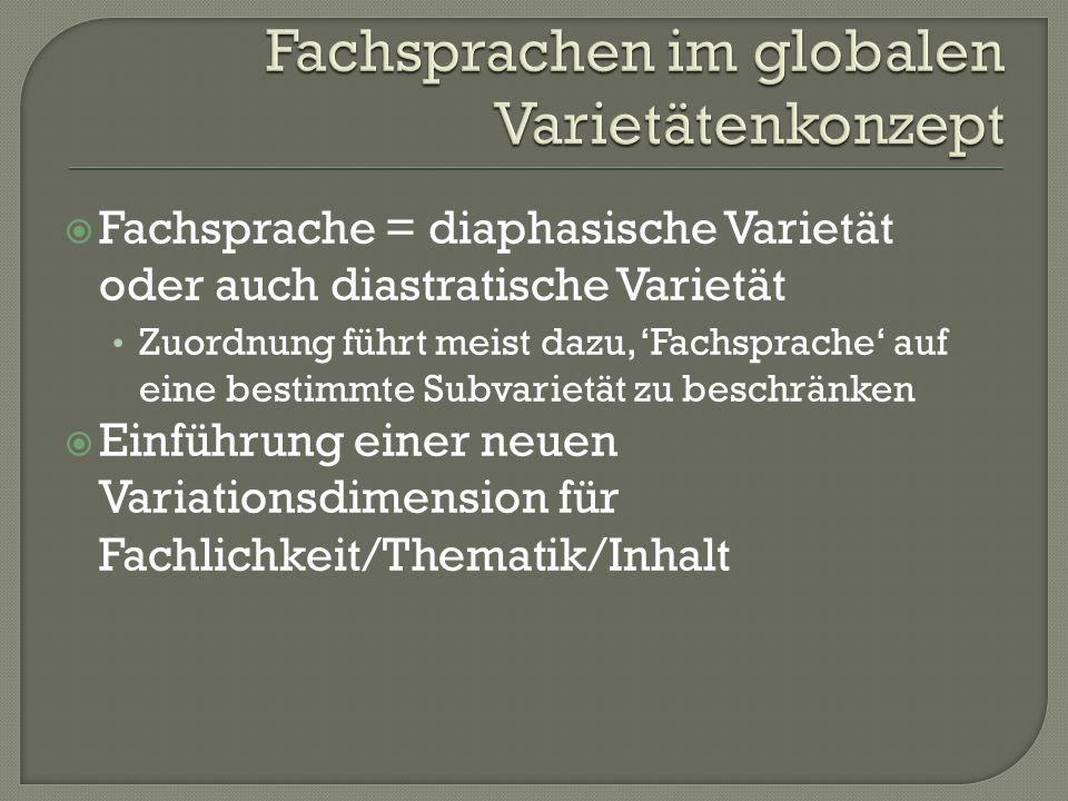 Fachsprachen im globalen Varietätenkonzept