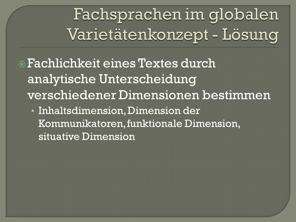Fachsprachen im globalen Varietätenkonzept - Lösung