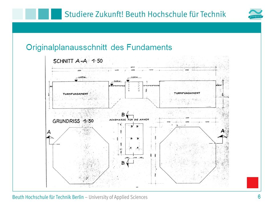 Originalplanausschnitt des Fundaments