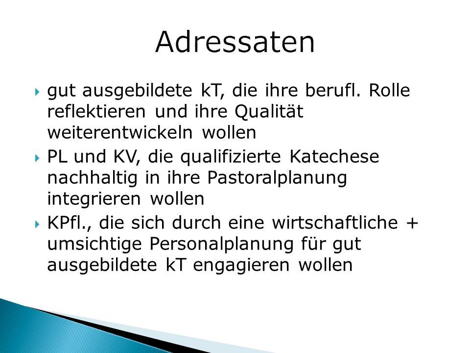 Adressaten gut ausgebildete kT, die ihre berufl. Rolle reflektieren und ihre Qualität weiterentwickeln wollen.