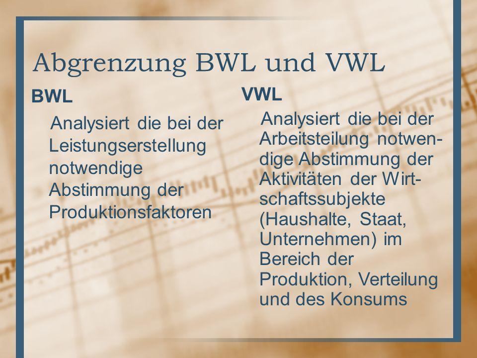 Abgrenzung BWL und VWL BWL Analysiert die bei der Leistungserstellung notwendige Abstimmung der Produktionsfaktoren