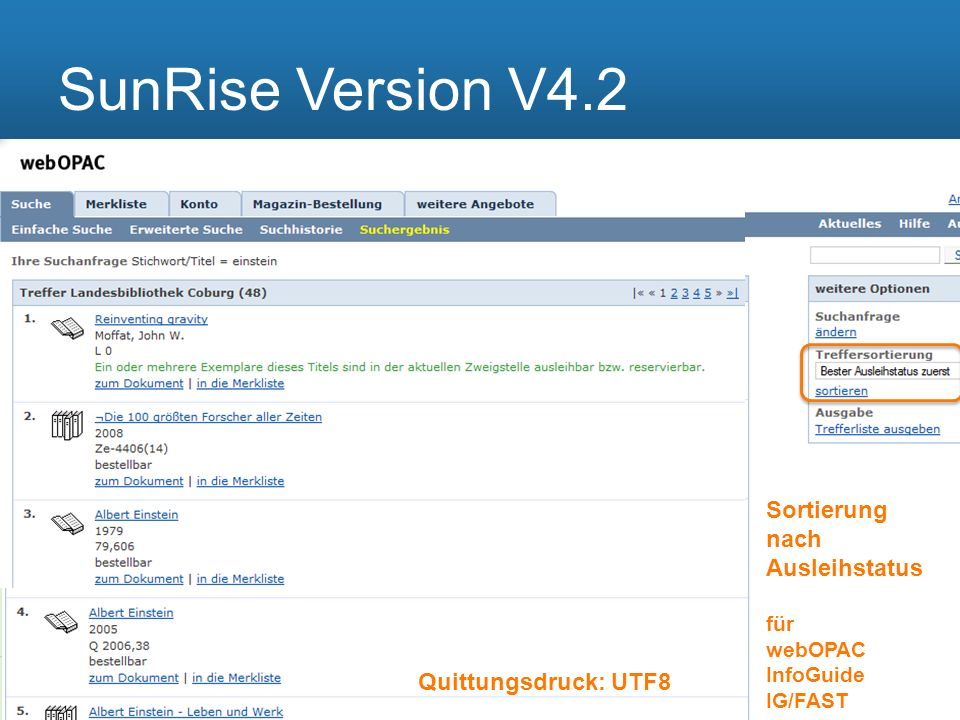 SunRise Version V4.2 Sortierung nach Ausleihstatus für