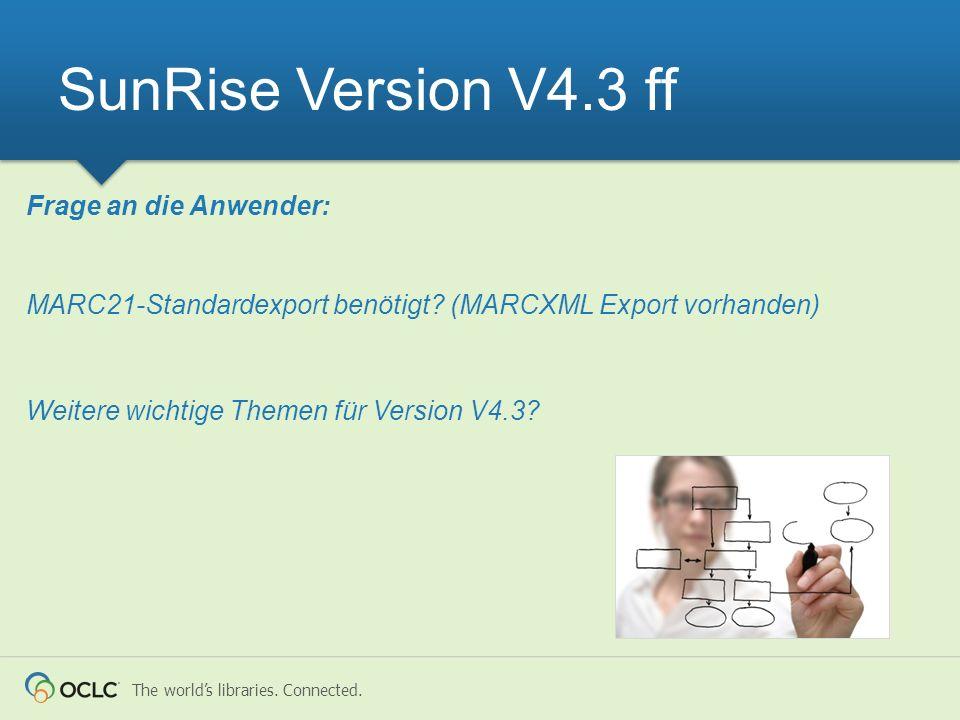 SunRise Version V4.3 ff Frage an die Anwender: MARC21-Standardexport benötigt.