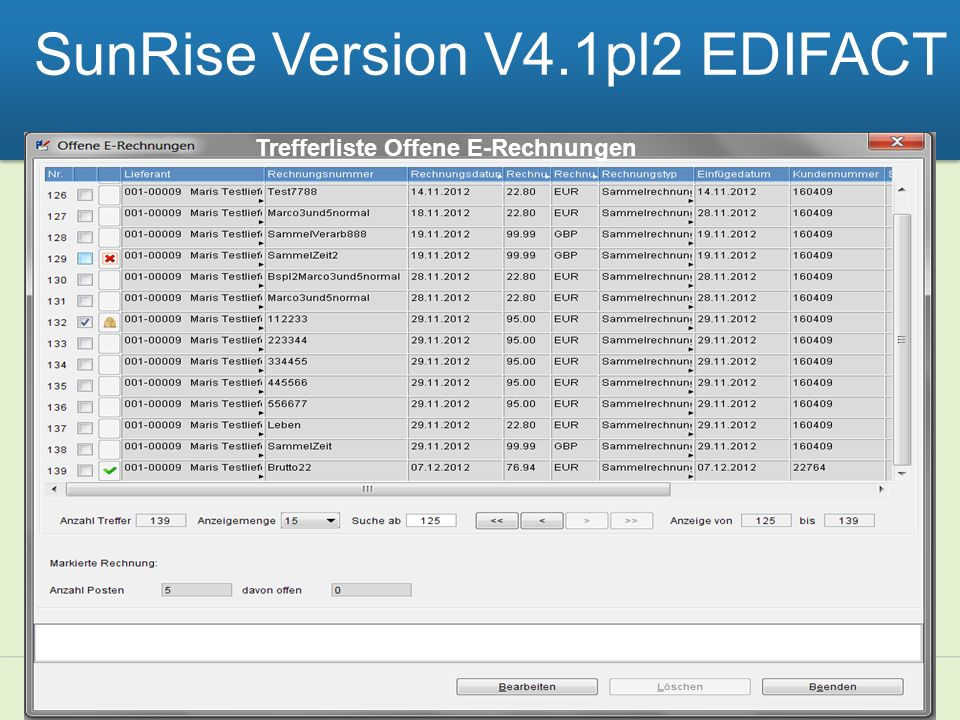 SunRise Version V4.1pl2 EDIFACT