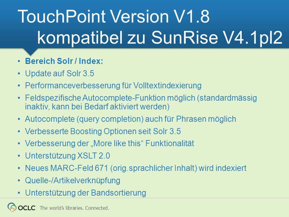 TouchPoint Version V1.8 kompatibel zu SunRise V4.1pl2