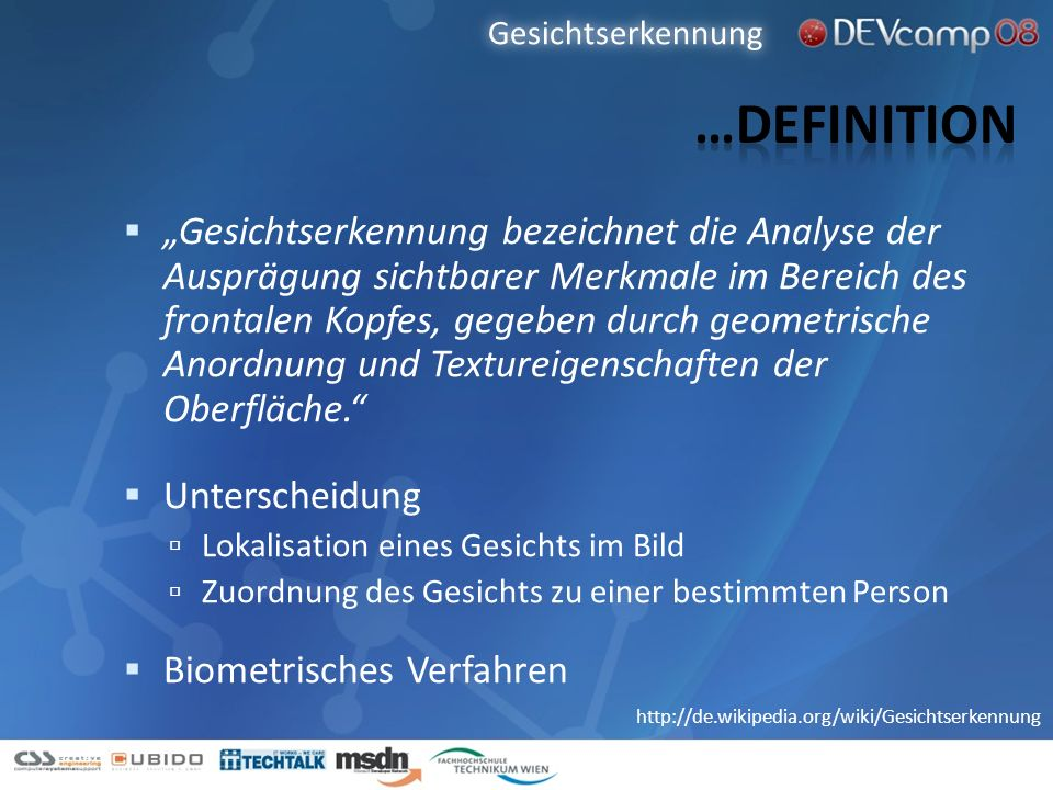 Gesichtserkennung …Definition.