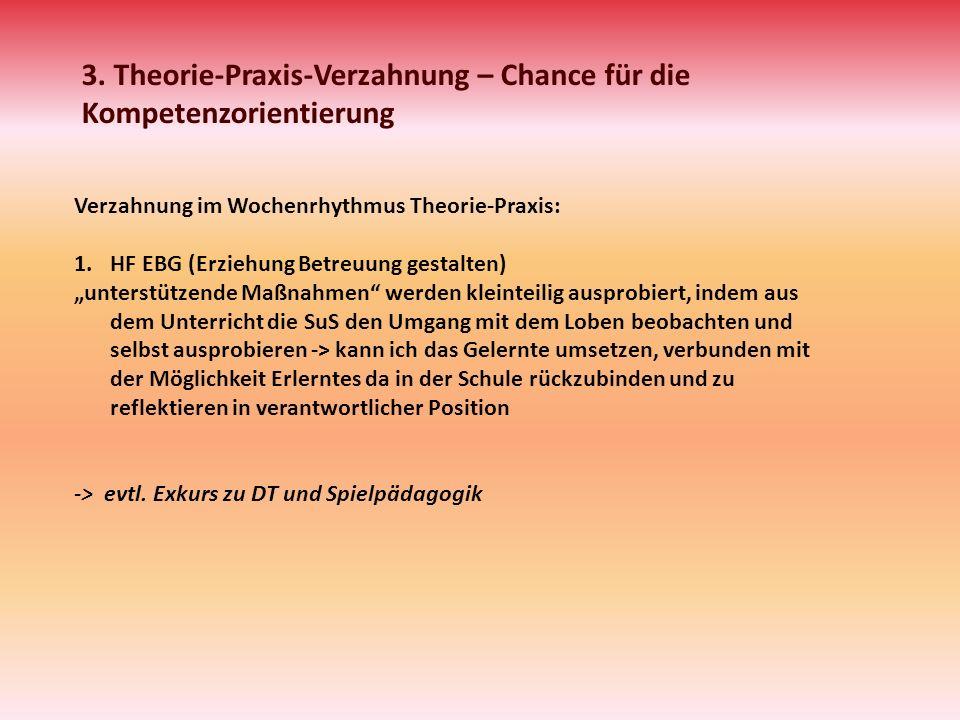 3. Theorie-Praxis-Verzahnung – Chance für die Kompetenzorientierung