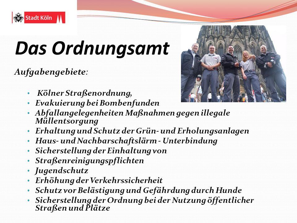 Das Ordnungsamt Aufgabengebiete: Kölner Straßenordnung,