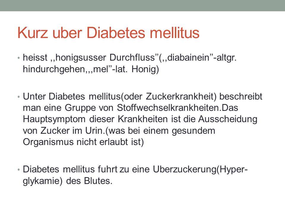 Kurz uber Diabetes mellitus