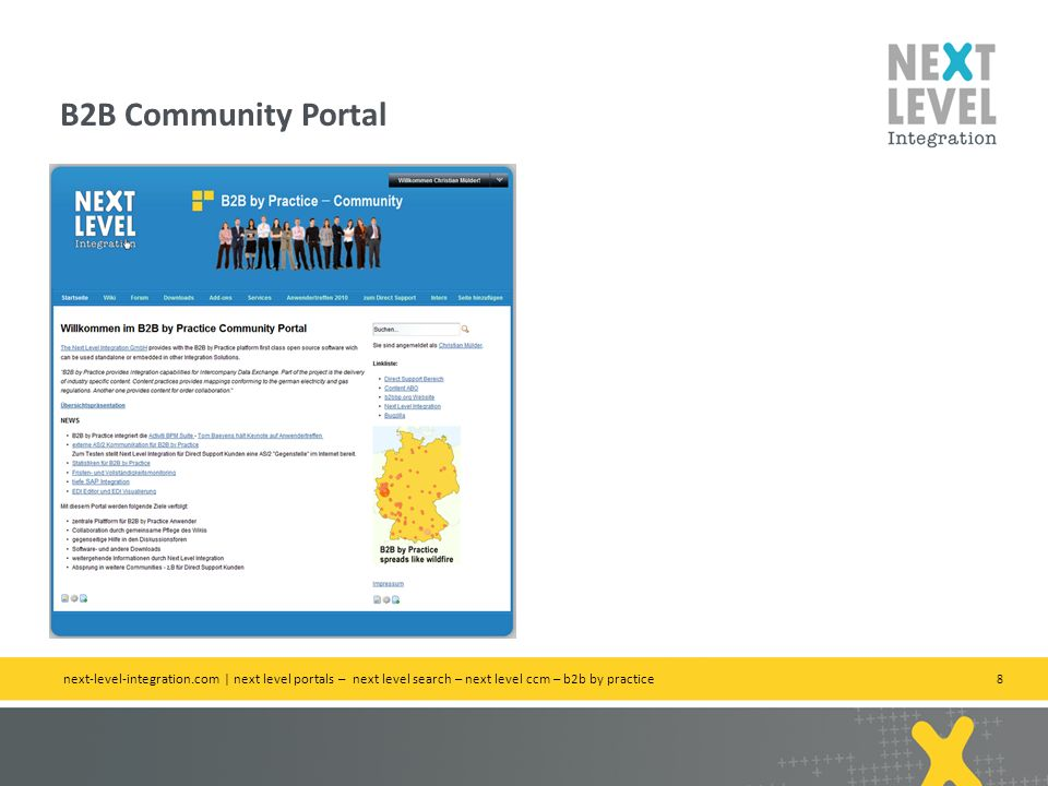 B2B Community Portal next-level-integration.com | next level portals – next level search – next level ccm – b2b by practice.