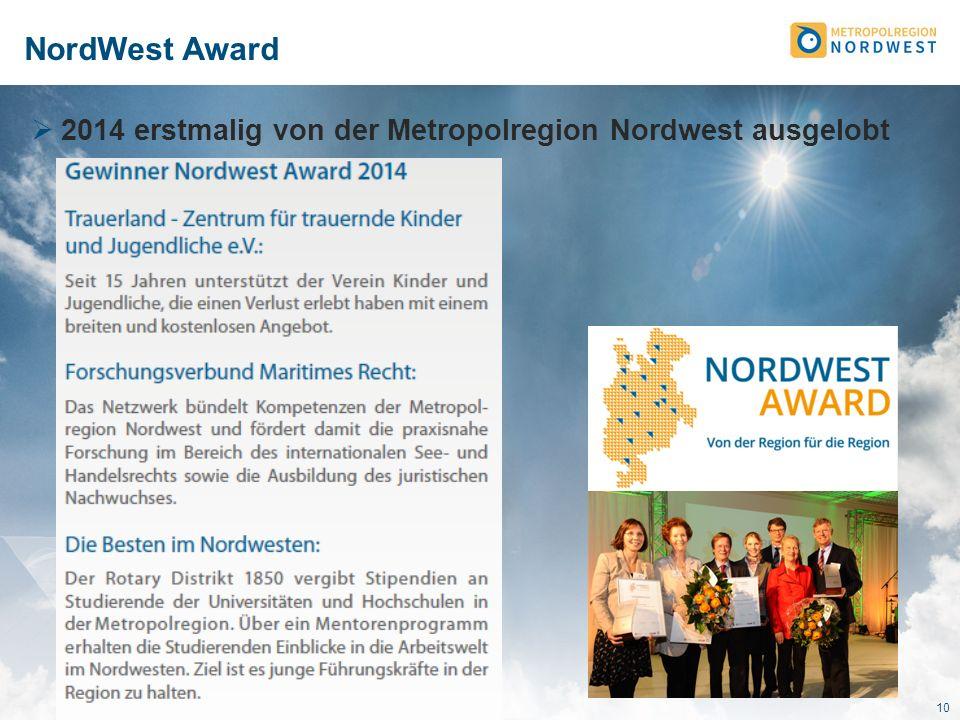 NordWest Award 2014 erstmalig von der Metropolregion Nordwest ausgelobt