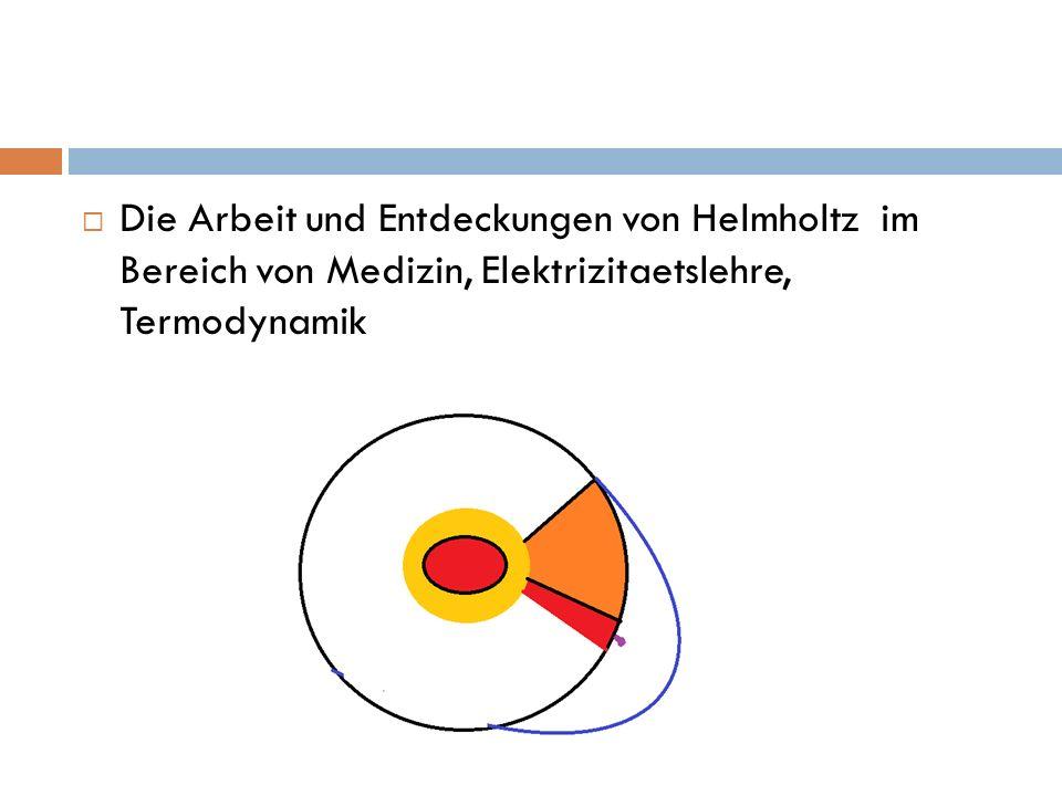 Die Arbeit und Entdeckungen von Helmholtz im Bereich von Medizin, Elektrizitaetslehre, Termodynamik
