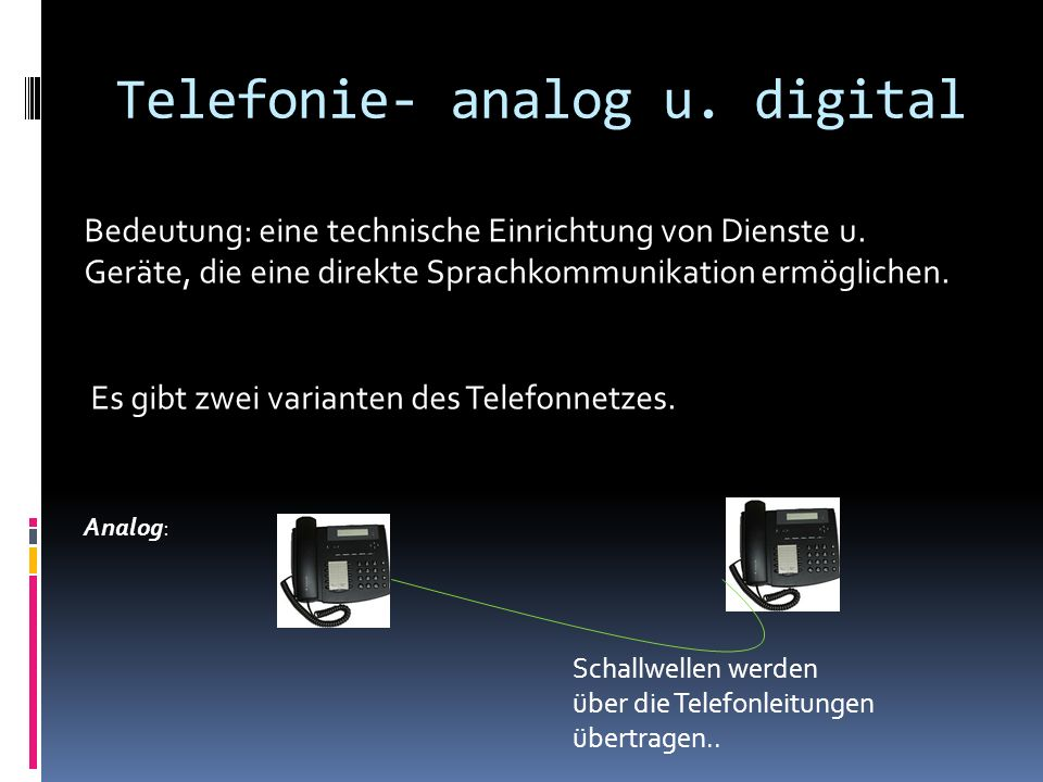 Telefonie- analog u. digital