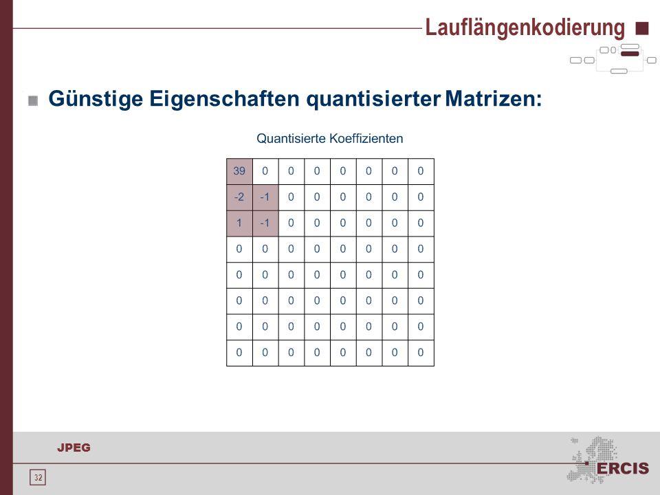 Lauflängenkodierung Günstige Eigenschaften quantisierter Matrizen: