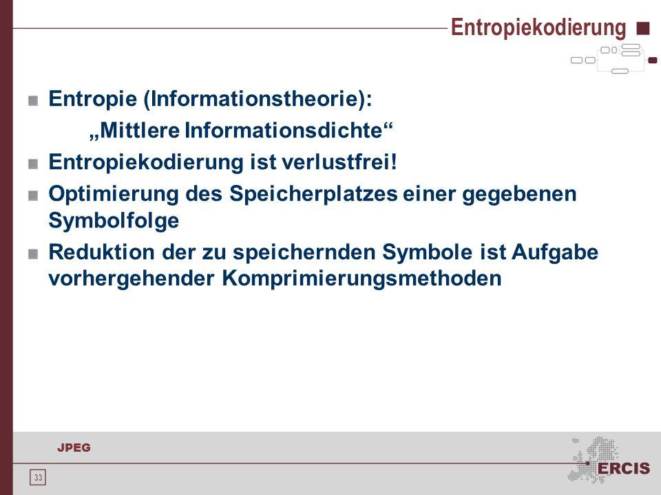 Entropiekodierung Entropie (Informationstheorie):