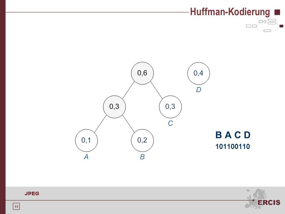 Huffman-Kodierung B A C D 101100110