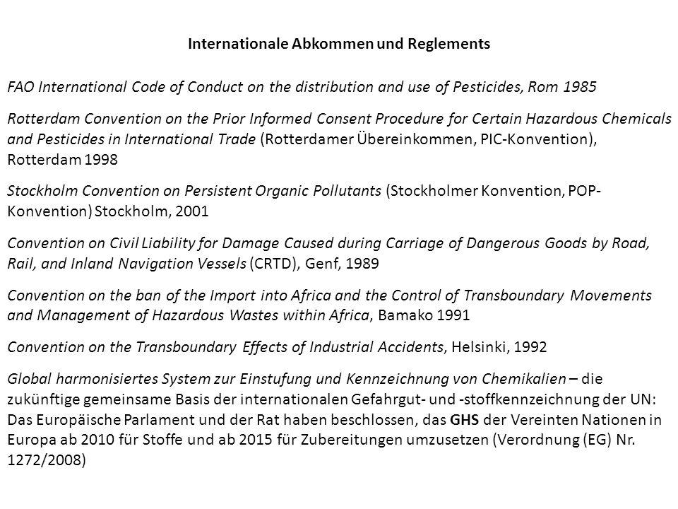 Internationale Abkommen und Reglements
