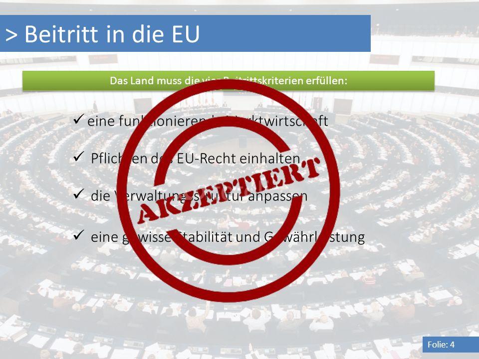 Das Land muss die vier Beitrittskriterien erfüllen: